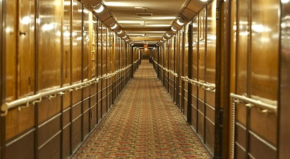 The Elegant Corridors onboard the Queen Mary - Copyright: The Queen Mary Hotel.